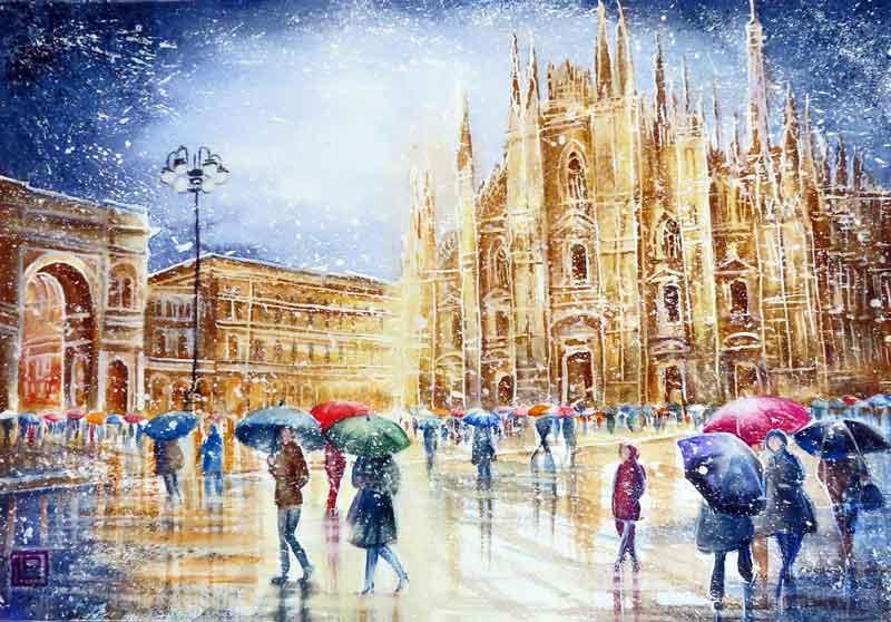 Lorenza Pasquali   Acquarellista Pittrice ad Acquerello. Artista di Milano. Quadri Personalizzati   Immagine opera neve in Duomo