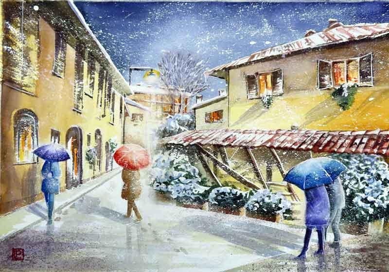 Lorenza Pasquali   Acquarellista Pittrice ad Acquerello. Artista di Milano. Quadri Personalizzati   Immagine opera Porta Ombrelli in Vicolo Lavandai