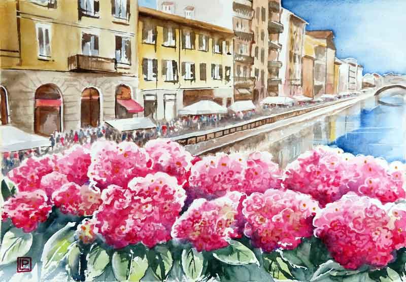 Lorenza Pasquali   Acquarellista Pittrice ad Acquerello. Artista di Milano. Quadri Personalizzati   Immagine opera Ortensie Rosse sul Naviglio