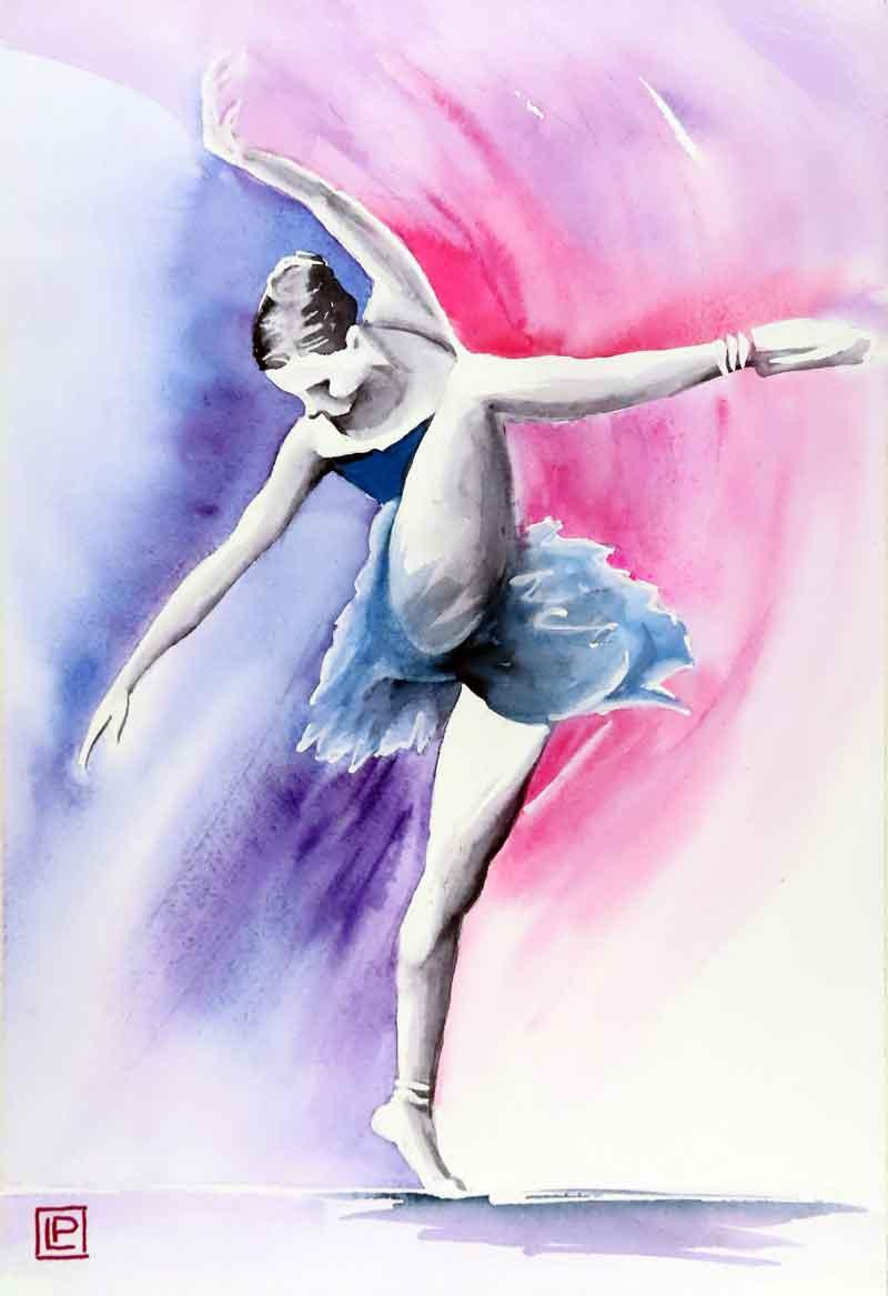 Lorenza Pasquali | Acquarellista Pittrice ad Acquerello. Artista di Milano. Quadri Personalizzati | Immagine opera Ballerina Blu e Fuxia