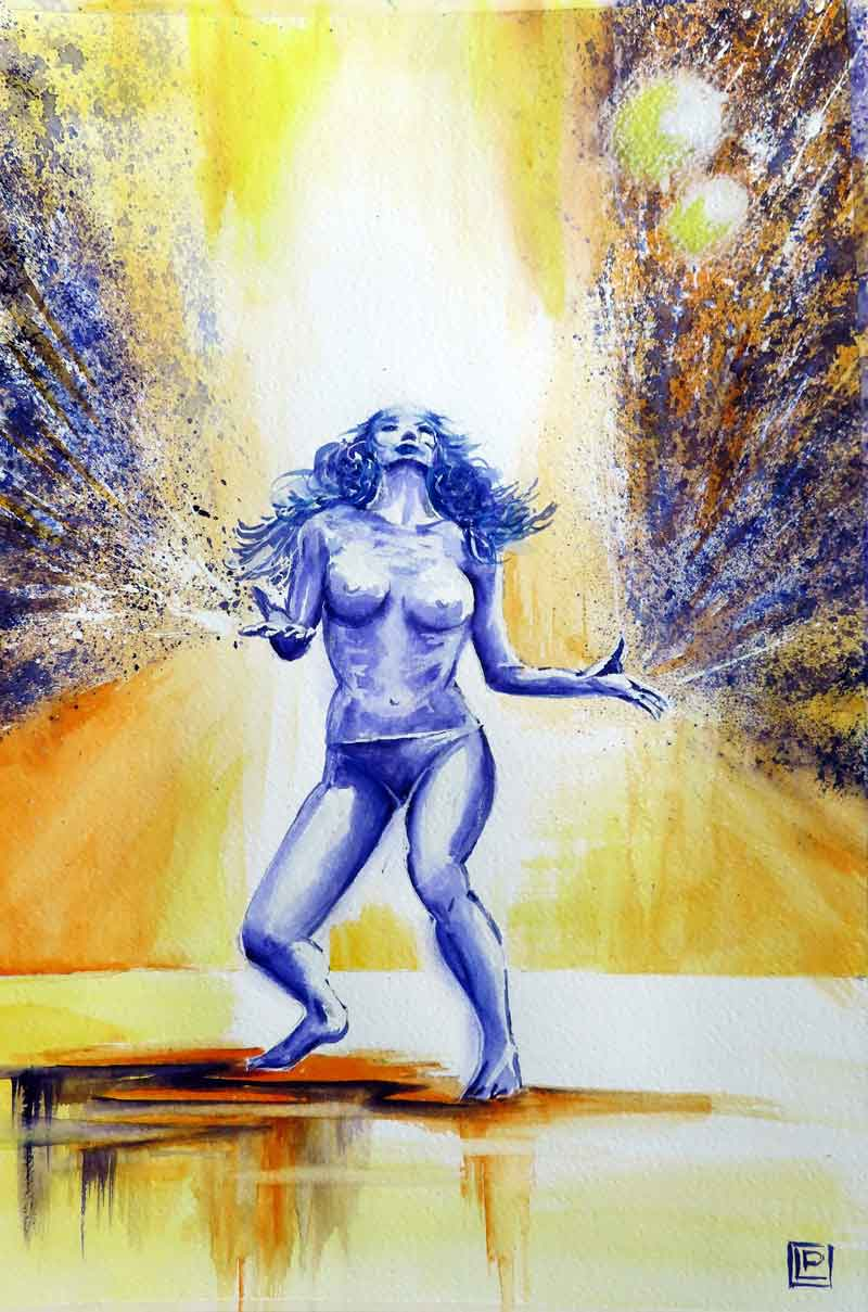 Lorenza Pasquali | Acquarellista Pittrice ad Acquerello. Artista di Milano. Quadri Personalizzati | Immagine opera Ballerina Donna Irata