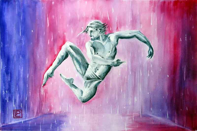Lorenza Pasquali | Acquarellista Pittrice ad Acquerello. Artista di Milano. Quadri Personalizzati | Immagine opera Salto Pioggia